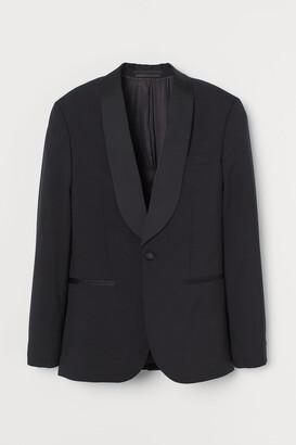 H&M Slim Fit Wool Tuxedo Jacket - Black