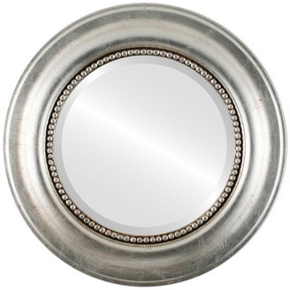"""The Oval And Round Mirror Store Heritage Framed Round Mirror in Silver Leaf w/ Brown Antique, 29""""x29"""""""