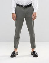 Asos Skinny Crop Smart Trousers In Grey