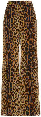 Moschino Leopard-print Silk-chiffon Wide-leg Pants