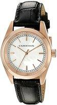 Cabochon Women's 'De Ce Monde' Swiss Quartz Stainless Steel and Black Leather Casual Watch (Model 516S-01)