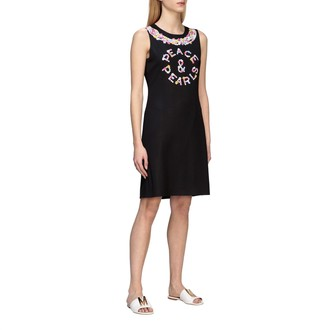 Boutique Moschino Dress Crepe Dress With Floral Peace Print
