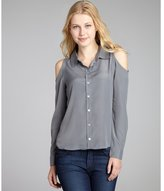 Romeo & Juliet Couture grey cutout shoulder button front blouse