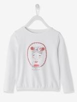 Vertbaudet Girls Printed T-shirt with Braided Motif