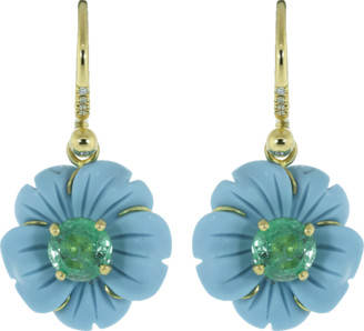 Irene Neuwirth Jewelry Carved Turquoise Flower Drop Earrings