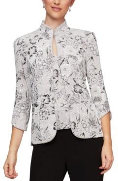Alex Evenings Petite Mandarin-Collar Jacket & Top Twinset