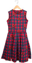 Oscar de la Renta Girls' Rose Print A-Line Dress