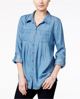 Style&Co. Style & Co Style & Co Petite Denim Roll-Tab Shirt, Created for Macy's