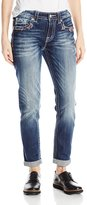 Miss Me Junior's Destructed Multi-Color Stitch Pocket Boyfriend Ankle Jean