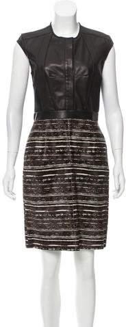 Derek Lam Leather Paneled Ponyhair Dress