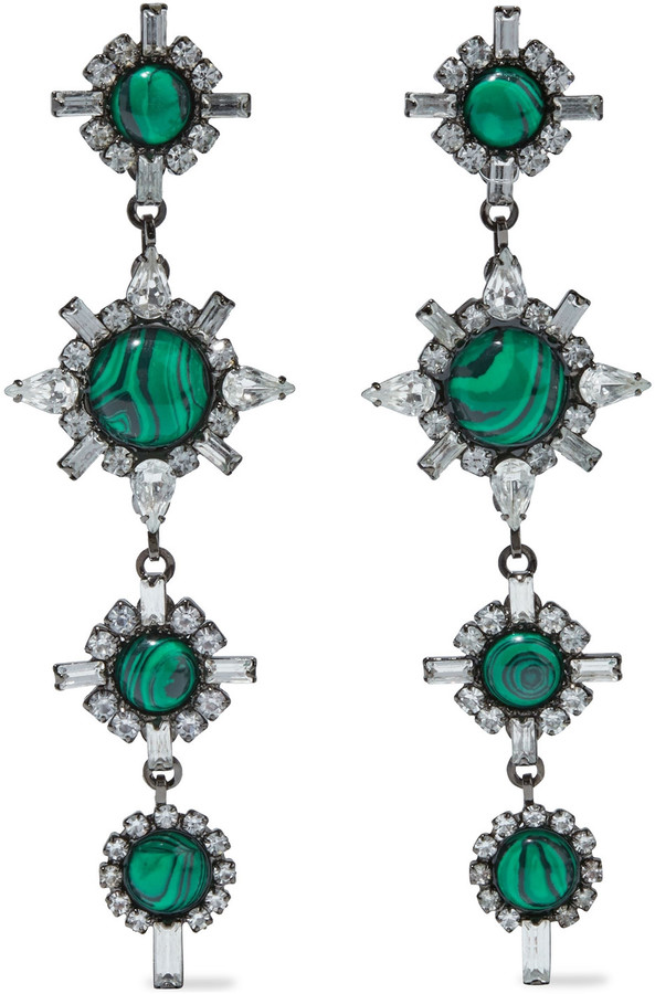 Elizabeth Cole Dires Hematite-plated Swarovski Crystal And Stone Earrings