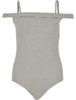River Island Womens Black stripe bardot bodysuit