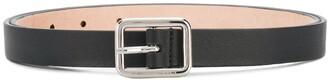 Alexander McQueen Leather Silver Buckle Belt