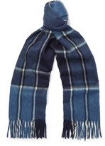 Dunhill - Fringed Checked Wool And Cashmere-blend Scarf