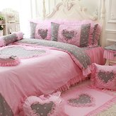 Wolala Home 100% Cotton 4Pcs Heart Pattern Home Textile Ruffled Bedclothes Lovely Girl Pink Bedding Sets (Queen, Pink)