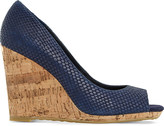 Dune Charlotte reptile-embossed leather wedges