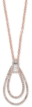 "Effy Diamond Double Loop 18"" Pendant Necklace (1/2 ct. t.w.) in 14k Rose Gold"