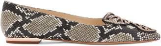 Sophia Webster Snakeskin-Print Leather Butterfly Flats