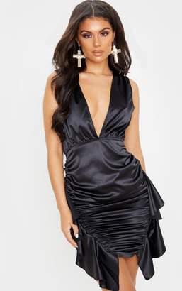 PrettyLittleThing Multi Renaissance Satin Sleeveless Ruched Frill Dress