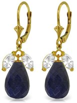 Galaxy Gold 14k Solid Gold Leverback Earrings with White Topaz & Sapphires