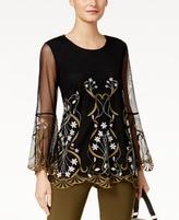 Alfani Petite Embroidered Illusion Top, Created for Macy's