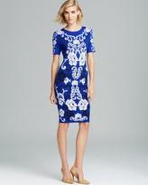 Cynthia Steffe Short Sleeve Color Block Jacquard Sweater Dress - Briella