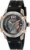Elini Barokas Women's 'Spirit' Swiss Quartz Stainless Steel and Silicone Automatic Watch, Black (Model: 20005-RG-01-SRB)