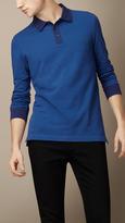Burberry Long Sleeve Colour Block Polo Shirt