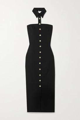 Alessandra Rich Strapless Crystal-embellished Wool-blend Crepe Midi Dress - Black