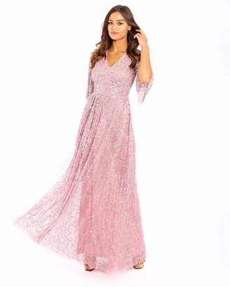 Maya Deluxe Women's Maya Pink V Neck Embellished Sheer Sleeve Maxi Dress Bridesmaid 6