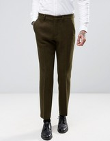 Asos Slim Smart Pants In Khaki Harris Tweed 100% Wool With Real Leather Lapel