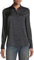 Vince Polka-Dot Button-Front Silk Shirt