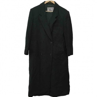 Burberry Green Wool Trench Coat for Women Vintage
