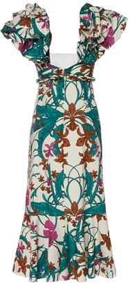 Johanna Ortiz Mulatto Print Cotton Midi Dress