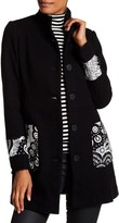 Desigual Wool Blended Stand Up Collar Pea Coat