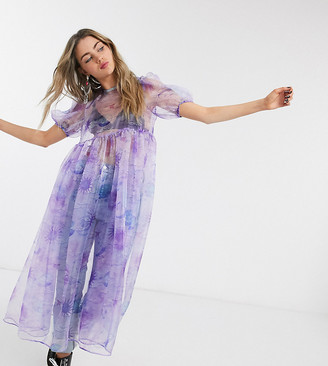 House Of Stars oversized smock dress with bow tie back in sheer celestial organza