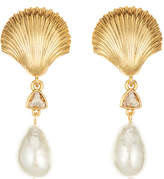 Oscar de la Renta Scallop Shell Pearly Clip Earrings