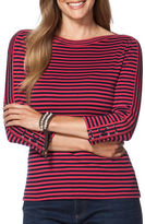 Chaps Plus Striped Three-Quarter Sleeve T-Shirt