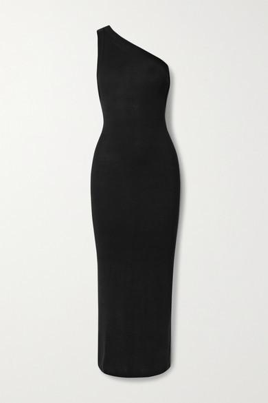 The Line By K Avalon One-shoulder Stretch-jersey Midi Dress - Black
