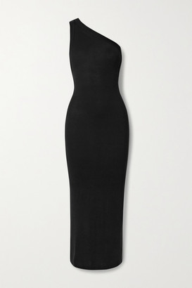 The Line By K Avalon One-shoulder Stretch-jersey Midi Dress - Black