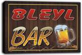 AdvPro Canvas scw3-094263 BLEYL Name Home Bar Pub Beer Mugs Cheers Stretched Canvas Print Sign