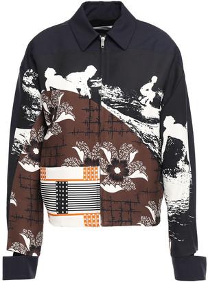 Victoria Beckham Paneled Cutout Printed Taffeta Jacket