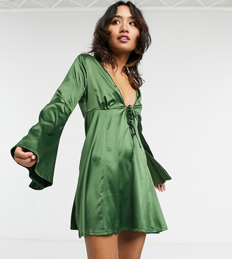 ASOS DESIGN Petite tie-front fit and flare skater mini dress in forest green