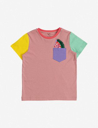 Stella McCartney Colour-blocked horse-print cotton-jersey T-shirt 4-12 years