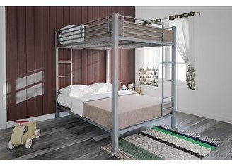 DHP Full over Full Metal Bunk Bed, Silver