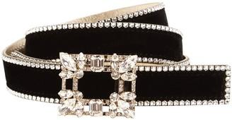 Roger Vivier 15mm Leather Belt W/ Crystal Buckle