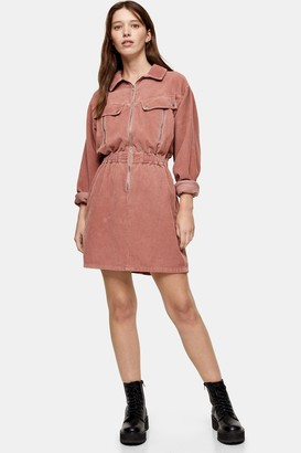 Topshop CONSIDERED Pink Corduroy Long Sleeve Zip Shirt Dress With Recycled Cotton