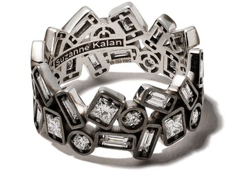 Suzanne Kalan 18kt white gold DSM exclusive black rhodium inlay diamond ring