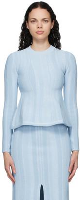 Proenza Schouler Blue Ottoman Peplum Sweater