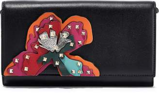 Valentino Garavani Studded Appliqued Leather Clutch